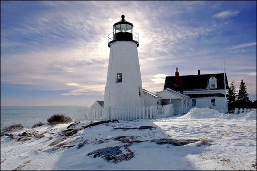 winter view of Pemaquid Point Lighthouse, Maine