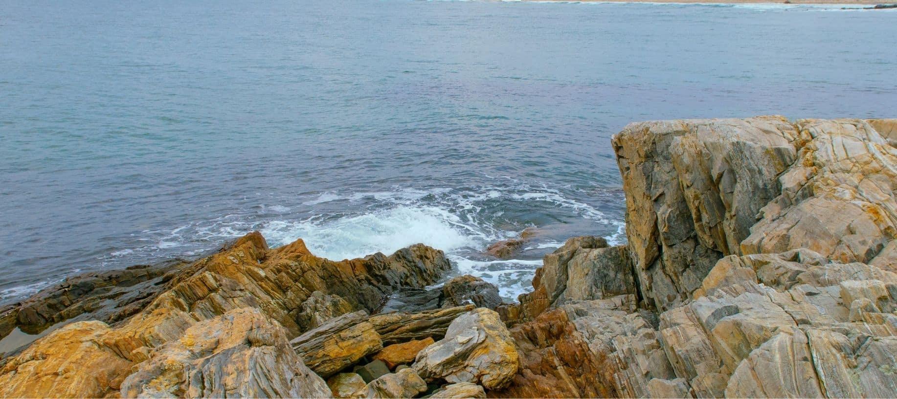 Rocky coast of Maine overlooking the ocean.