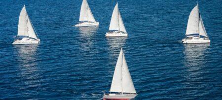 Sailboats racing in a regatta