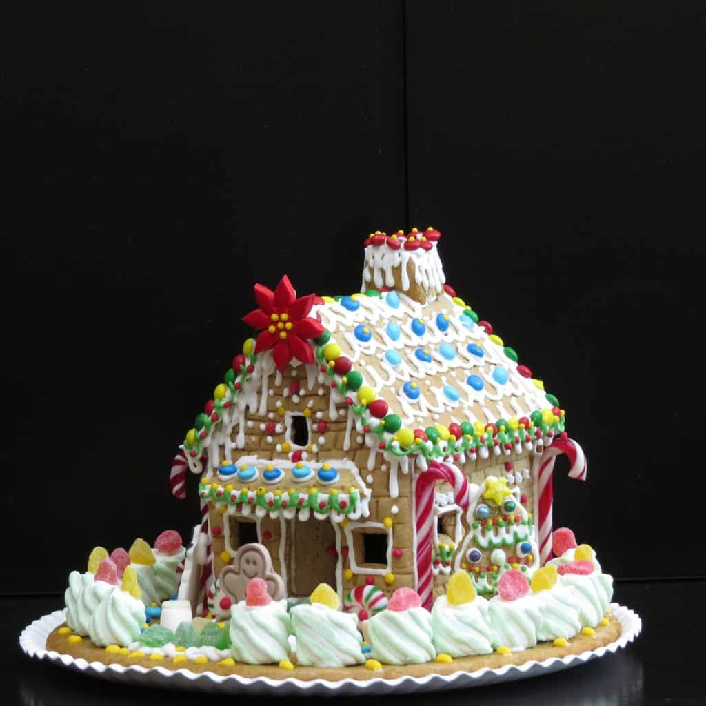 Edible gingerbread house made of cookies and candy