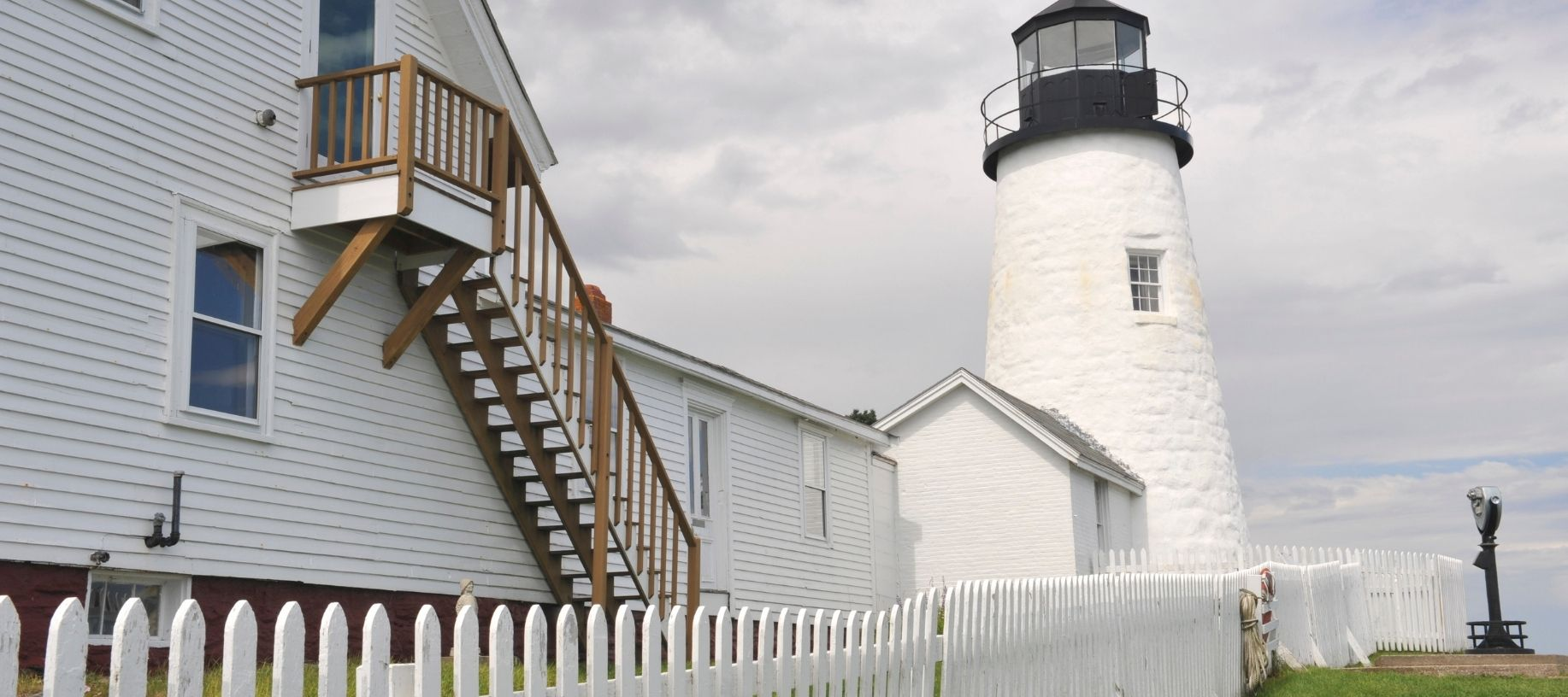 Historic, white Permaquid Lighthouse in Newcastle Maine