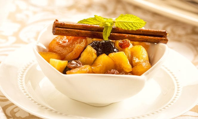 image of warm fruit compote